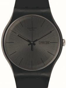 The Watch: SwatchBlack Rebel Unisex WatchSUOB702This Swatch Black Rebel Matte Black Unisex Watch (SUOB702) is a standout piece with it's 'all black everything' look. The matte black silicone strap is matched by the black case, dial, hands, indexes and date window.Key Features:Swiss-Made Quartz MovementPlastic CaseSiliconeStrapDay-Date WindowWater Resistant to 30mThe Brand: SwatchSwatch watches are globally-renowned for their trademark combination of quality Swiss watchmaking, pioneering use of plastic cases and straps, and eye-catching designs. There is a Swatch watch to suit every age, taste and lifestyle, with this variety and sense of difference ensuring that Swatch watches remain some of the most popular and sought after currently manufactured.