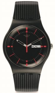 The Watch: Swatch Gaet 41mm Case Men's WatchSUOB714This SwatchGaet Men'sWatch (SUOB714) is guaranteed to make a statementwith it's double-layer strap accented with a contrasting grey print for a dapper textured effect and solid red underneath. Red and grey indexes adorn a sun-brushed black dial finished with an easy-to-read day and date window.Key Features:Swiss-Made Quartz MovementPlastic CaseDouble Layer Silicone StrapDay-Date WindowWater Resistant to 30mThe Brand: SwatchSwatch watches are globally-renowned for their trademark combination of quality Swiss watchmaking, pioneering use of plastic cases and straps, and eye-catching designs. There is a Swatch watch to suit every age, taste and lifestyle, with this variety and sense of difference ensuring that Swatch watches remain some of the most popular and sought after currently manufactured.