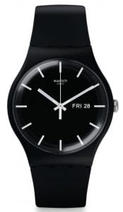 The Watch: Swatch Mono 41mm Case Black Men's WatchSUOB720This Swatch Mono Black Men's Watch (SUOB720) features a day and date window, a reliable quartz movement, and classic Swatch styling.Key Features:Swiss-Made Quartz MovementPlastic CaseSilicone StrapWater Resistant to 30mThe Brand: SwatchSwatch watches are globally-renowned for their trademark combination of quality Swiss watchmaking, pioneering use of plastic cases and straps, and eye-catching designs. There is a Swatch watch to suit every age, taste and lifestyle, with this variety and sense of difference ensuring that Swatch watches remain some of the most popular and sought after currently manufactured.