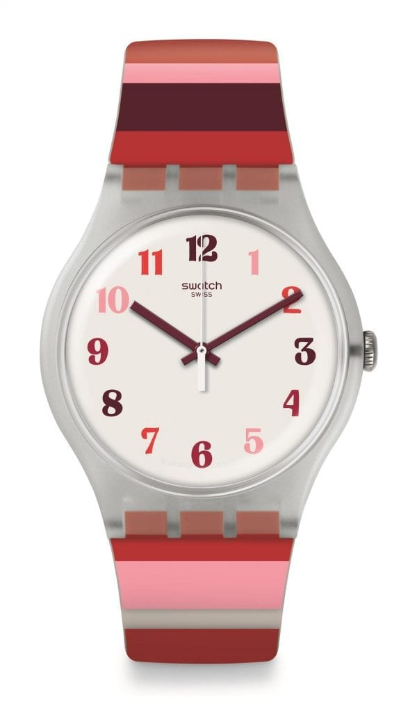Swatch Listen To Me Tramonto Occaso Stripey Ladies Watch SUOK138 41mmThis Swatch Listen To Me Tramonto Occaso Stripey Ladies Watch SUOK138 41mm is a lovely addition to the new listen to me collection. This watch has a pure white dial complimented by Arabic indexes in the shades of red. The ever present Swatch logo appears just below the 12 o'clock position, protected by a plastic case. To equip this timepiece, a standard buckle fastens a stripey red silicone strap.This watch has a water resistance of 30 metres, making it suitable for light splashes.Key Features:Listen To Me CollectionWhite DialQuartz Movement30m Water ResistantStrap BuckleStripey Red Silicone StrapThe Brand: SwatchSwatch watches are globally-renowned for their trademark combination of quality Swiss watchmaking, pioneering use of plastic cases and straps, and eye-catching designs. There is a Swatch watch to suit every age, taste and lifestyle, with this variety and sense of difference ensuring that Swatch watches remain some of the most popular and sought after currently manufactured.