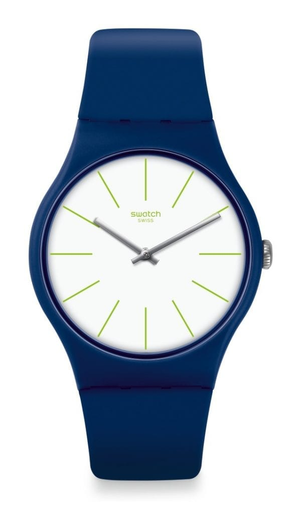 """The Watch: Swatch Bluesounds 41mm Case White Dial Matte Navy Blue Men's WatchThis Swatch Bluesounds White Dial Matte Navy Blue Unisex Watch (SUON127) has its clean blue and white all-over colouring expertly contrasted by green print dial indexes, with these stylish good looks all being underpinned by a reliable and precise quartz movement.Key Features:Swiss-Made Quartz MovementPlastic CaseSilicone StrapWater Resistant to 30mThe Brand: SwatchSwatch watches are globally-renowned for their trademark combination of quality Swiss watchmaking, pioneering use of plastic cases and straps, and eye-catching designs. There is a Swatch watch to suit every age, taste and lifestyle, with this variety and sense of difference ensuring that Swatch watches remain some of the most popular and sought after currently manufactured.Who We AreWatchNation is proud to be an authorised, established and respected supplier of Swatch watches. We stock a broad and exciting range of these superb timepieces both online and in store. Visiting us in store, located at 15-17 Charles Street, Hoole, Chester, CH2 3AZ, gives you the opportunity to take a first-hand look at our fantastic range of high-quality timepieces, with our friendly team of staff always on hand to use their decades of experience to offer helpful advice, useful information and expert guidance. If you can't pay a visit to our store, then our online delivery service guarantees that your latest timepiece will go from checkout to your wrist in a fast and reliable manner. These services are all a product of the motto on which WatchNation was founded and will forever operate – """"Time for the People."""""""