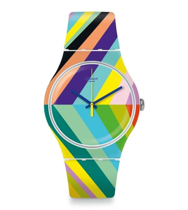 The Watch: Swatch Psycadelic 41mm Case Ladies' Watch SUOW155Truly living up to its title, this Swatch Psycadelic Ladies' Watch (SUOW155) teams a bold and vibrant colour scheme with a precise and reliable Swiss-made quartz movement. Key Features:Swiss-Made Quartz MovementPlastic CaseSilicone StrapWater Resistant to 30m The Brand: SwatchSwatch watches are globally-renowned for their trademark combination of quality Swiss watchmaking, pioneering use of plastic cases and straps, and eye-catching designs. There is a Swatch watch to suit every age, taste and lifestyle, with this variety and sense of difference ensuring that Swatch watches remain some of the most popular and sought after currently manufactured.