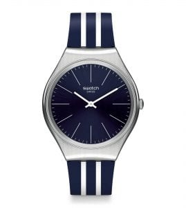 The Watch: Swatch Skinironblue 38mm Case Mens Ladies Watch SYSXS106A product of elegant styling and cutting-edge design, this Swatch Skinironblue Unisex Watch (SYXS106) teams a brushed stainless steel case with an alluringly-striped strap.Key Features:Swiss-Made Quartz MovementBrushed Stainless Steel CaseSilicone StrapWater Resistant to 30mThe Brand: SwatchSwatch watches are globally-renowned for their trademark combination of quality Swiss watchmaking, pioneering use of plastic cases and straps, and eye-catching designs. There is a Swatch watch to suit every age, taste and lifestyle, with this variety and sense of difference ensuring that Swatch watches remain some of the most popular and sought after currently manufactured.