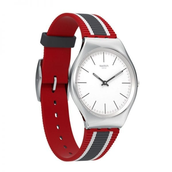 Swatch Skinflag Stainless Steel Case Silicone Strap Mens Watch SYXS114 38mmThis SwatchSkinflag Stainless Steel Case Silicone Strap Mens Watch SYXS114 teams a cleanly styled white dial with a sleek silicone strap.Key Features:30m Water ResistantWhite DialStripey StrapThe Brand: SwatchSwatch watches are globally-renowned for their trademark combination of quality Swiss watchmaking, pioneering use of plastic cases and straps, and eye-catching designs. There is a Swatch watch to suit every age, taste and lifestyle, with this variety and sense of difference ensuring that Swatch watches remain some of the most popular and sought after currently manufactured.