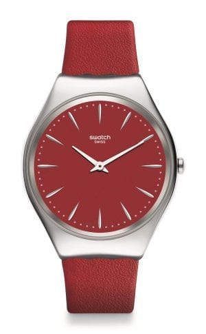 Swatch Skin Irony Skinrossa Red Leather Strap Ladies Watch SYXS119 38mmThisSwatch Skin Irony Skinrossa Red Leather Strap Ladies Watch SYXS119 38mm is a superb addition to the skin irony collection. A red dial is complimented by silver coloured indexes and white hands, which are powered by a quartz movement. To protect the dial, a stainless steel case and plastic glass sit around the dial. To equip this timepiece a red leather strap is fastened by a standard buckle to sit comfortably around ones wrist.This watch has a water resistance of 30 metres, making it suitable for light splashes.Key Features:Red Leather StrapSkin Irony CollectionRed DialQuartz Movement30m Water ResistantStainless Steel CaseStandard BuckleThe Brand: SwatchSwatch watches are globally-renowned for their trademark combination of quality Swiss watchmaking, pioneering use of plastic cases and straps, and eye-catching designs. There is a Swatch watch to suit every age, taste and lifestyle, with this variety and sense of difference ensuring that Swatch watches remain some of the most popular and sought after currently manufactured.