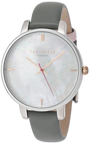 """Ted Baker Kate Stainless Steel Case Grey Leather Strap Ladies Watch TE15162002 38mmThis Ted BakerKate Stainless Steel Case Grey Leather Strap Ladies Watch (TE15162002) 38mm features a charmingblack mother of pearldial. The watch also has a gold coloured crown, gold coloured markers and is complete with the Ted Baker logo.Key Features:Analogue Display50m Water ResistantQuartz MovementBlack Mother of Pearl DialThe Brand: Ted BakerBeginning as a shirt specialist in Glasgow in 1987, Ted Baker continues to operate under its founding ethos: """"No ordinary designer label."""" This approach is evident in the brand's timepiece output, as each model has a unique sense of individuality woven into its make-up. A timeless name in British fashion, Ted Baker is sure to offer something to suit all tastes."""