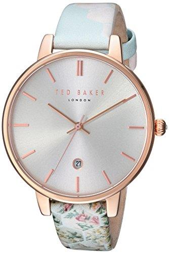 "Ted Baker Kate Rose Gold Plated Case Floral Leather Strap Ladies Watch TEC0025003 38mm Stylish and attractive, this Ted Baker Kate Rose Gold Plated Case Floral Leather Strap Ladies Watch TEC0025003 38mm teams a refined silver dial with a sleek and attractive light blue floral leather strap.Key Features:Silver DialDate Function50m Water ResistantQuartz MovementAnalogue Display The Brand: Ted BakerBeginning as a shirt specialist in Glasgow in 1987, Ted Baker continues to operate under its founding ethos: ""No ordinary designer label."" This approach is evident in the brand's timepiece output, as each model has a unique sense of individuality woven into its make-up. A timeless name in British fashion, Ted Baker is sure to offer something to suit all tastes."