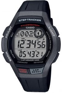 Casio Collection Sports Steptracker Black Resin Mens Watch WS-2000H-1AVEF 44mmAs part of the Casio Collection, this Sports Steptracker Black Resin Mens Watch WS-2000H-1AVEF 44mm has a full digital display. The timepiece itself has a lap memory of 200 as well as a stopwatch and stepcounter, perfect for those who enjoy a run in the park or those who seek the thrill of completing a marathon or long distance running. Other features include illuminator, snooze and alarm. A black resin strap is fastened to sit comfortably around ones wrist.This watch has a water resistance of 100 metres, making it suitable for swimming and snorkeling.Key Features:Sports StyleSteptrackerIlluminatorLap Memory 200Black ResinAlarmQuartz MovementPlexiglass100m Water ResistantDigital DisplayCalendarBuckle ClosureThe Brand: CasioCasio was established in 1946 by Japanese engineer Tadao Kashio. The company entered the timepiece market in 1974 with the release of the Casiotron, the world's first Auto Calendar watch. Only eleven years after entering this field, Casio completely reshaped global thought about the function a watch should perform with the release of the pioneering and now legendary G-Shock family. Innovation and world firsts have defined the company's history ever since, the most striking of these being the release of the first ever touch screen watch in 1991, 24 years before the Apple Watch, and the first ever wrist camera watch in 2000. In short, Casio was producing smartwatches decades before the term had even been coined. Add to this the hipster popularity of the company's retro designs, and Casio has firmly cemented its reputation as a famously reliable and precise name in both analog and digital watches.