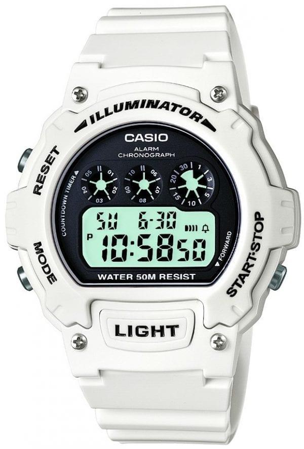 Casio Classic Sport Alarm Chronograph White Plastic Case White Rubber Strap Mens Watch W-214HC-7AVEF 45mm