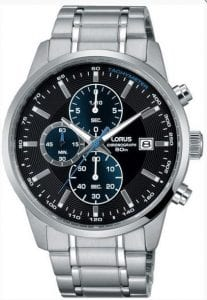 Lorus Sports Quartz Chronograph Black Dial Silver Stainless Steel Men's Watch RM329DX9