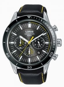 Lorus Sports Quartz Chronograph Black Leather Stainless Steel Men's Watch RT311HX9