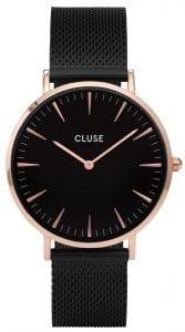 CLUSE La Boheme Rose Gold PVD Case Black Mesh Bracelet Ladies Watch CL18034
