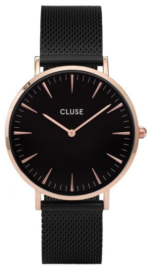 CLUSE La Boheme Rose Gold PVD Case Black Mesh Bracelet Ladies Watch CL18034