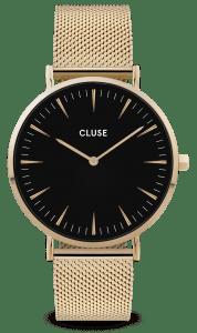 CLUSE La Boheme Gold PVD Stainless Steel Black Dial Ladies Watch CW0101201014