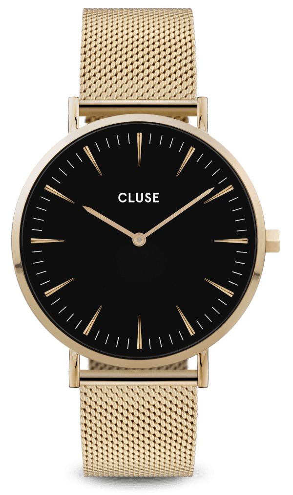 CLUSE La Boheme Gold PVD Stainless Steel Black Dial Ladies Watch CW0101201014
