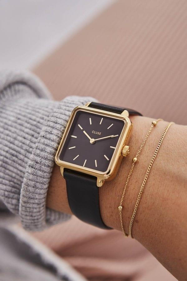 CLUSE La Tetragone Square Dial Gold PVD Case Black Leather Strap Ladies Watch CL60008
