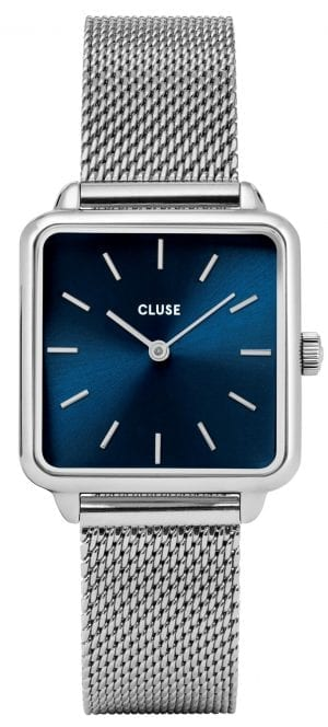 CLUSE La Tetragone Square Blue Dial Silver Steel Bracelet Ladies Watch CL60011
