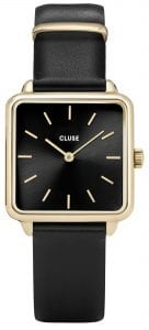 CLUSE La Tetragone Square Dial Gold PVD Case Black Leather Strap Ladies Watch CW0101207014