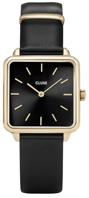 CLUSE La Tetragone Square Dial Gold PVD Case Black Leather Strap Ladies Watch CW0101207014