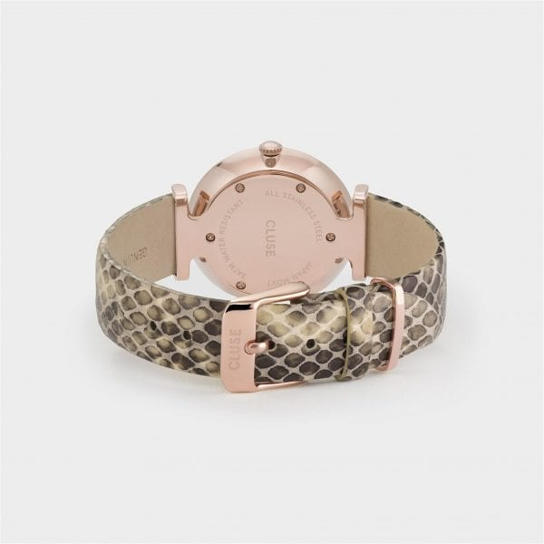 CLUSE Triomphe Rose Gold PVD Case Snakeskin Leather Strap Ladies Watch CW0101208007