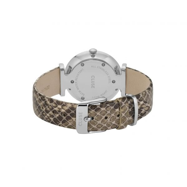 CLUSE Triomphe Silver Stainless Steel Case Snakeskin Leather Strap Ladies Watch CW0101208009