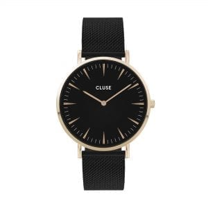 CLUSE La Boheme Gold PVD Stainless Steel Black Mesh Strap Ladies Watch CW0101201008