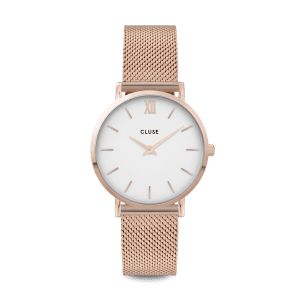 CLUSE Miniut Rose Gold PVD Stainless Steel White Dial Ladies Watch CW0101203001