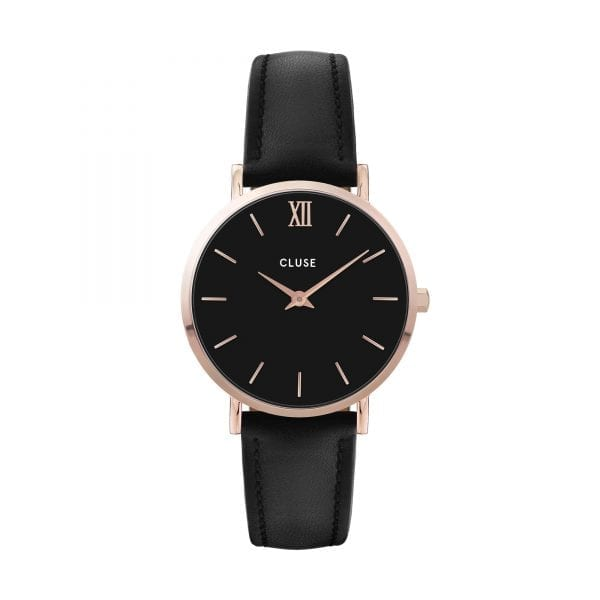 CLUSE Minuit Rose Gold PVD Case Black Leather Strap Ladies Watch CW0101203013
