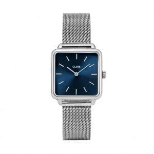 CLUSE La Tetragone Square Blue Dial Silver Steel Bracelet Ladies Watch CW0101207012