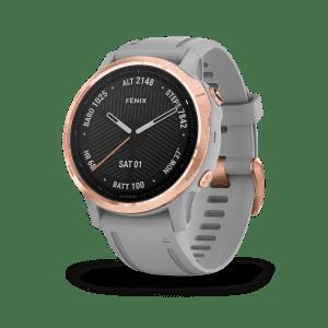 Garmin Fenix 6S Sapphire Grey Silicone Strap Rose Gold PVD Quartz Ladies Smartwatch 010-02159-21
