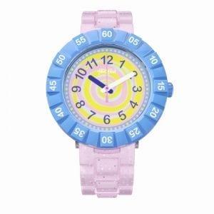 Flik Flak Swirly Candy Pink Resin Strap Purple Plastic Case Kids' Girls Watch FCSP045 37mm