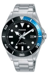Pulsar Regular Quartz Black Dial Silver Stainless Steel Men's Watch PG8293X1