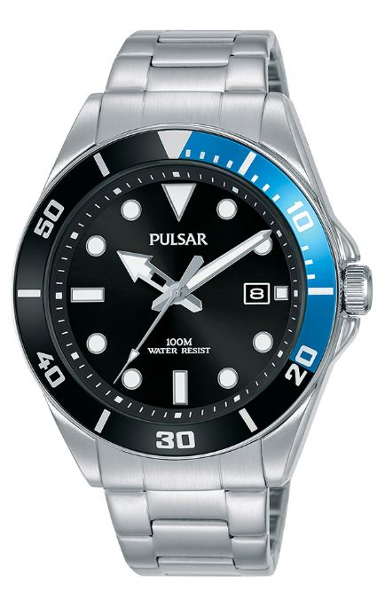 Pulsar Regular Quartz Black Dial Silver Stainless Steel Men's Watch PG8293X1