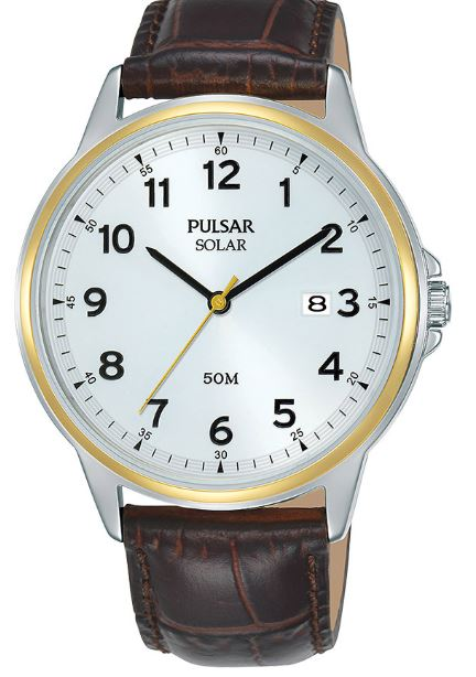 Pulsar Regular Quartz White Dial Brown Leather Strap Men's Watch PX3198X1