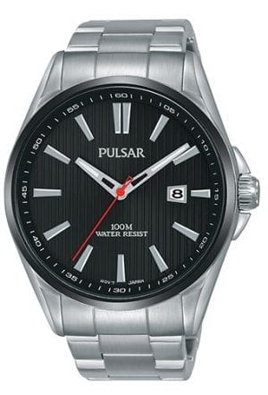 Pulsar Regular Quartz Black Dial Silver Stainless Steel Men's Watch PS9605X1
