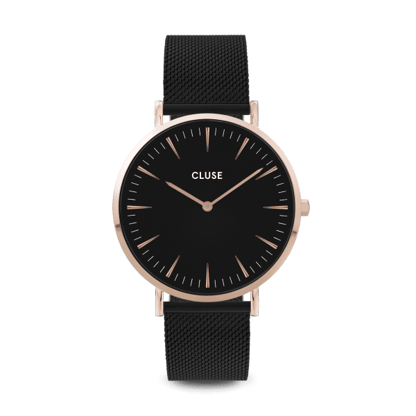 CLUSE La Boheme Rose Gold PVD Stainless Steel Black Silicone Strap Ladies Watch CW0101201010
