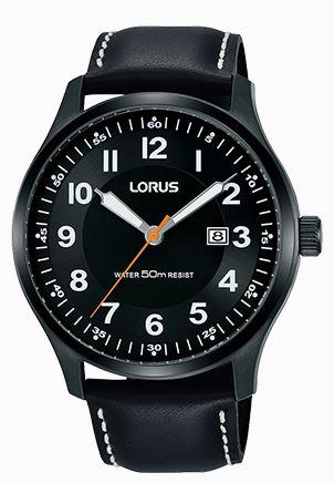 Lorus Classic Quartz Black Leather Strap Stainless Steel Case Men's Watch RH941HX9