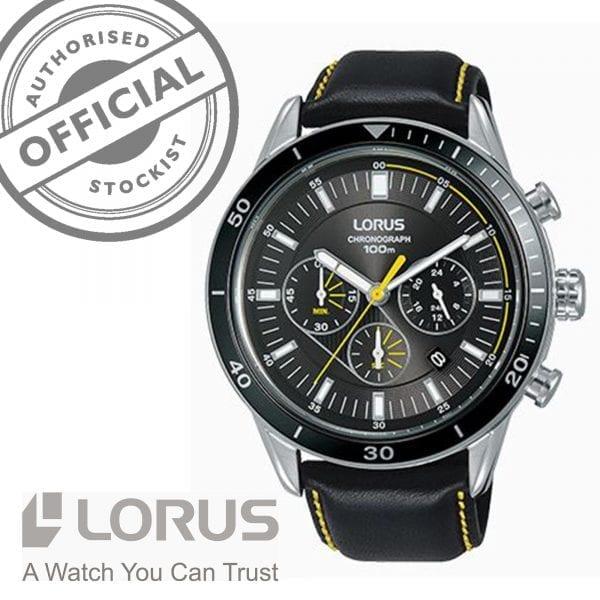 Lorus Sports Quartz Chronograph Black Leather Stainless Steel Men's Watch RT311HX9