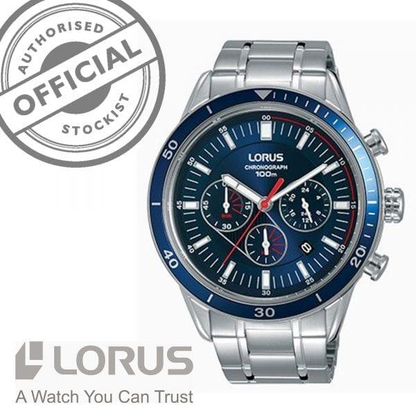 Lorus Sports Quartz Chronograph Blue Dial Silver Stainless Steel Men's Watch RT303HX9