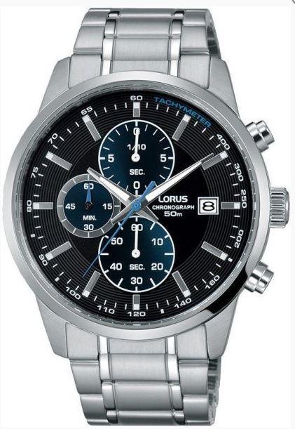 Lorus Sports Quartz Chronograph Black Dial Silver Stainless Steel Men's Watch RM329DX9