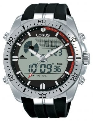 Lorus Sports Quartz Digital Silicone Strap Stainless Steel Case Men's Watch R2B07AX9