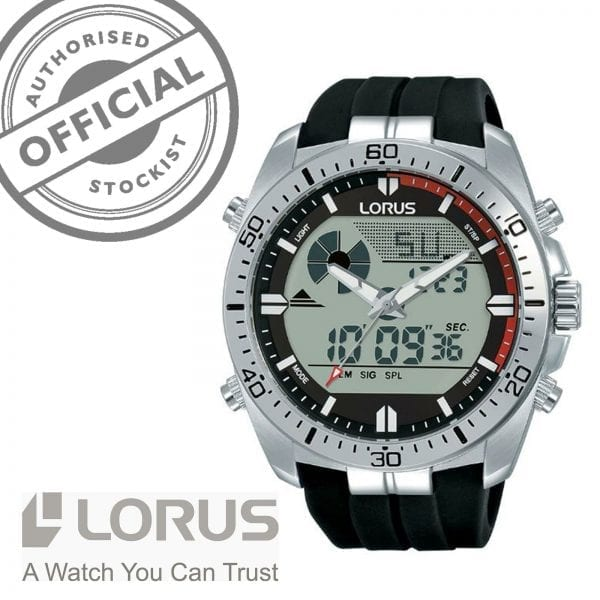 Lorus Sports Quartz Digital Silicone Strap Stainless Steel Case Men's Watch R2B07AX9