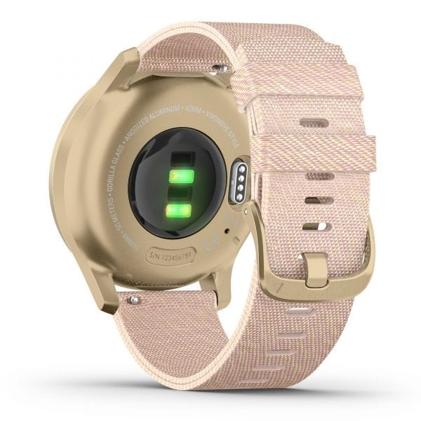 Garmin Vivomove Style Gold Aluminium Case Pink Nylon Strap Ladies Watch 010-02240-02