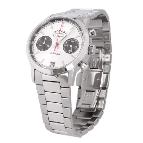 Rotary Swiss Made Avenger Sports Quartz Silver Steel Chronograph Men's Watch GB90130/06