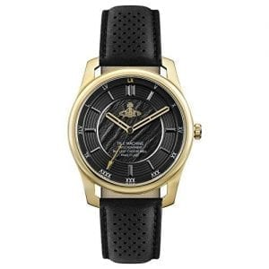 Vivienne Westwood Holborn II Quartz Black Leather Strap Gold PVD Case Ladies Watch VV185GDBK