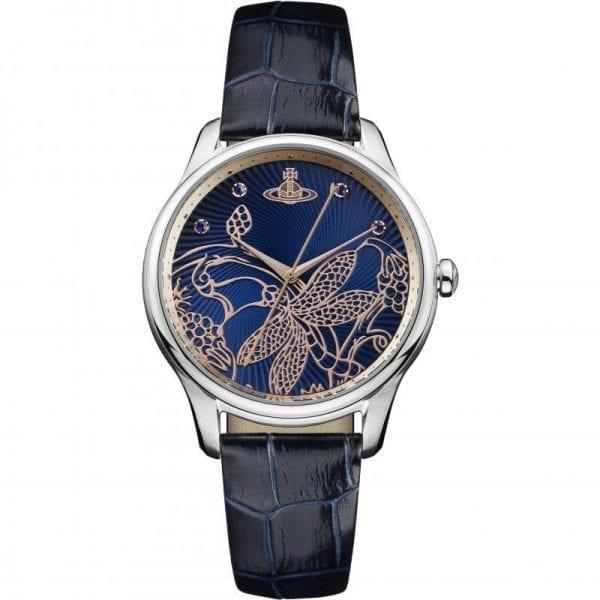 Vivienne Westwood Fitzrovia Quartz Black Leather Strap Silver Stainless Steel Case Ladies Watch VV197NVNV