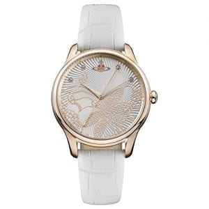 Vivienne Westwood Fitzrovia Quartz White Leather Strap Gold PVD Steel Case Ladies Watch VV197RSWH