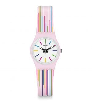Swatch Pink Mixing Quartz Pink Silicone Strap White Dial Ladies Watch LP155