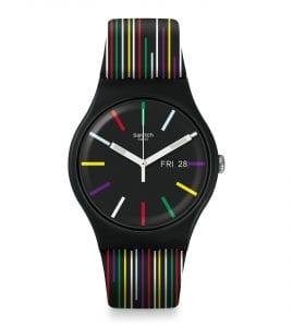 Swatch Nuit D'ete Quartz Black Silicone Strap Plastic Case Men's Watch SUOB729