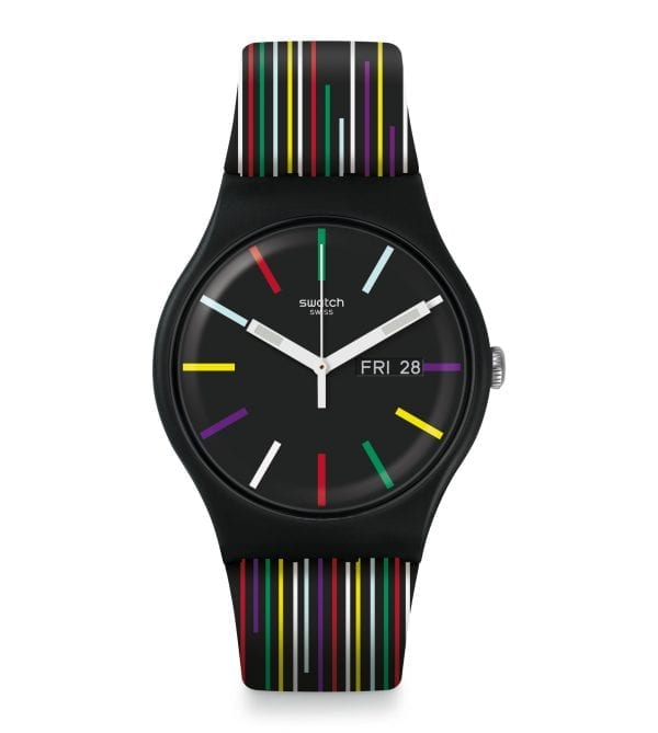 Swatch Nuit D'ete Quartz Black Silicone Strap Plastic Case Men's Watch SUOB729